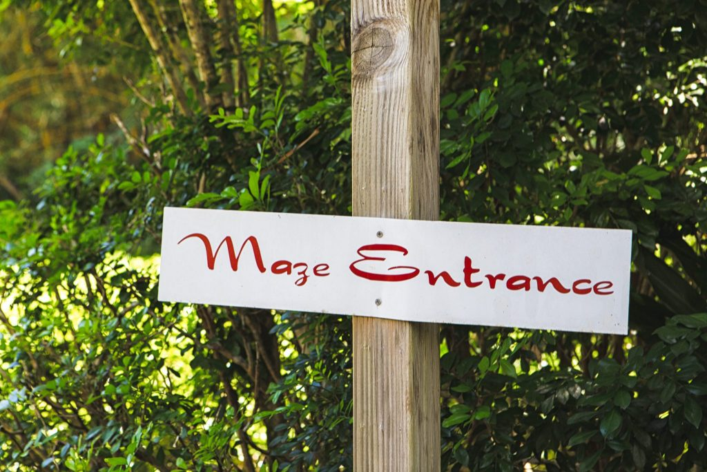 botanical world adventures wedding venue maze sign