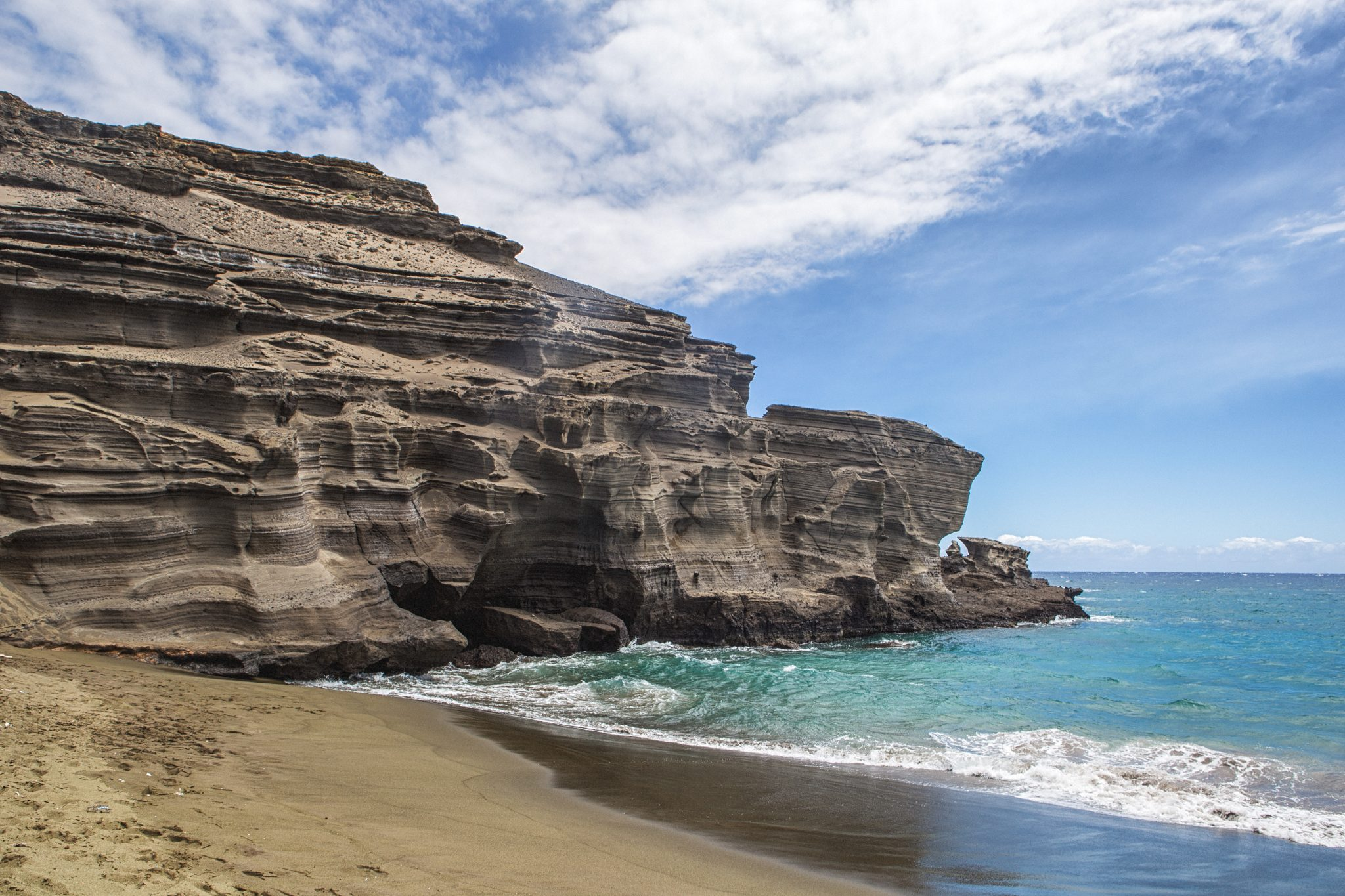 green said beach cliffs and ocean big island hawaii