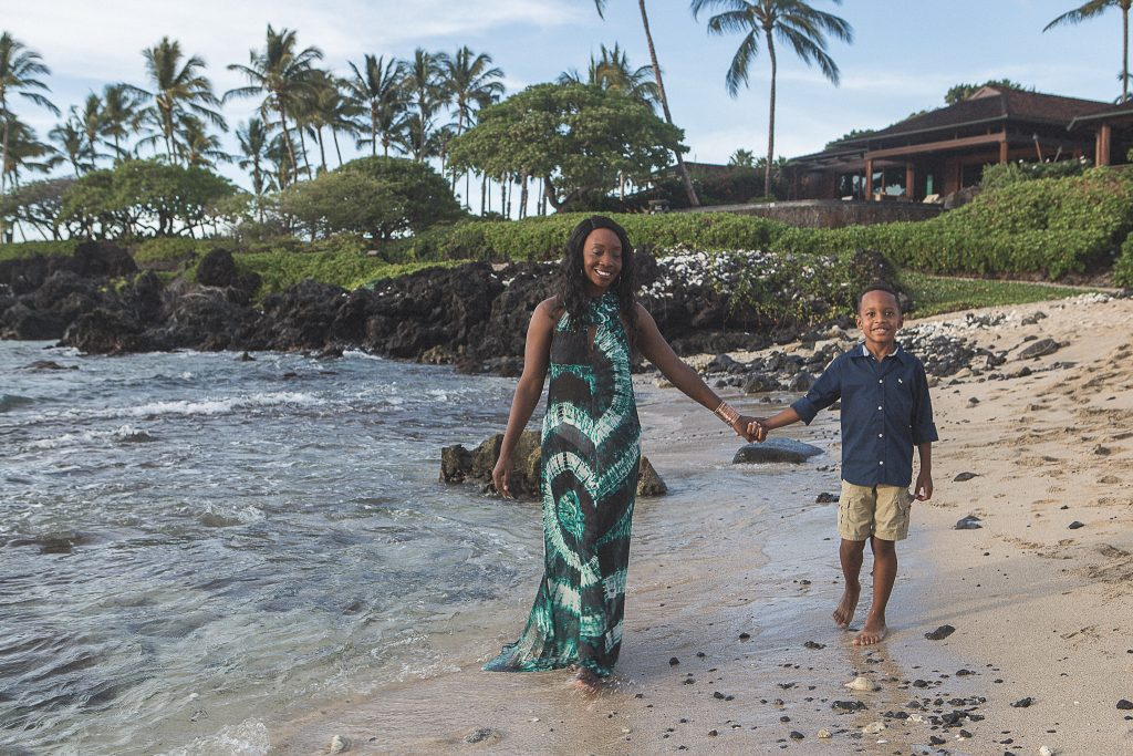 mother and son walking on beach Kukio Beach Portrait Photography Kailua-kona big island hawaii
