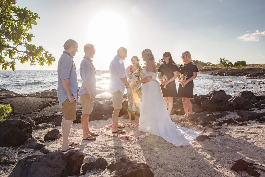 ceremony  by water Simple kona beach weddings becky ringler Intimate wedding Photography old airport park Kailua-kona big island Hawaii