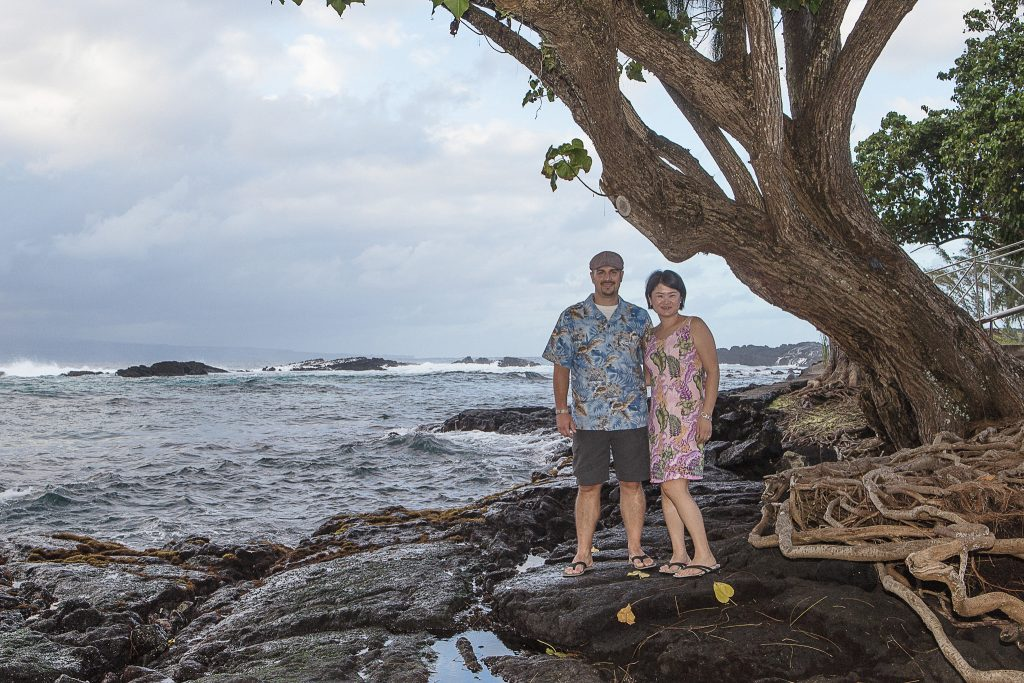 couple under tree near ocean Portrait Photography Richardson ocean park hilo big island hawaii