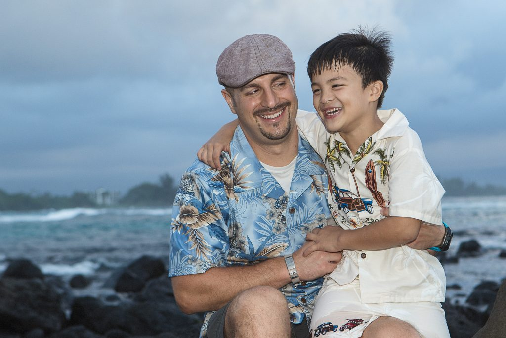 father and son laughing Portrait Photography Richardson ocean park hilo big island hawaii