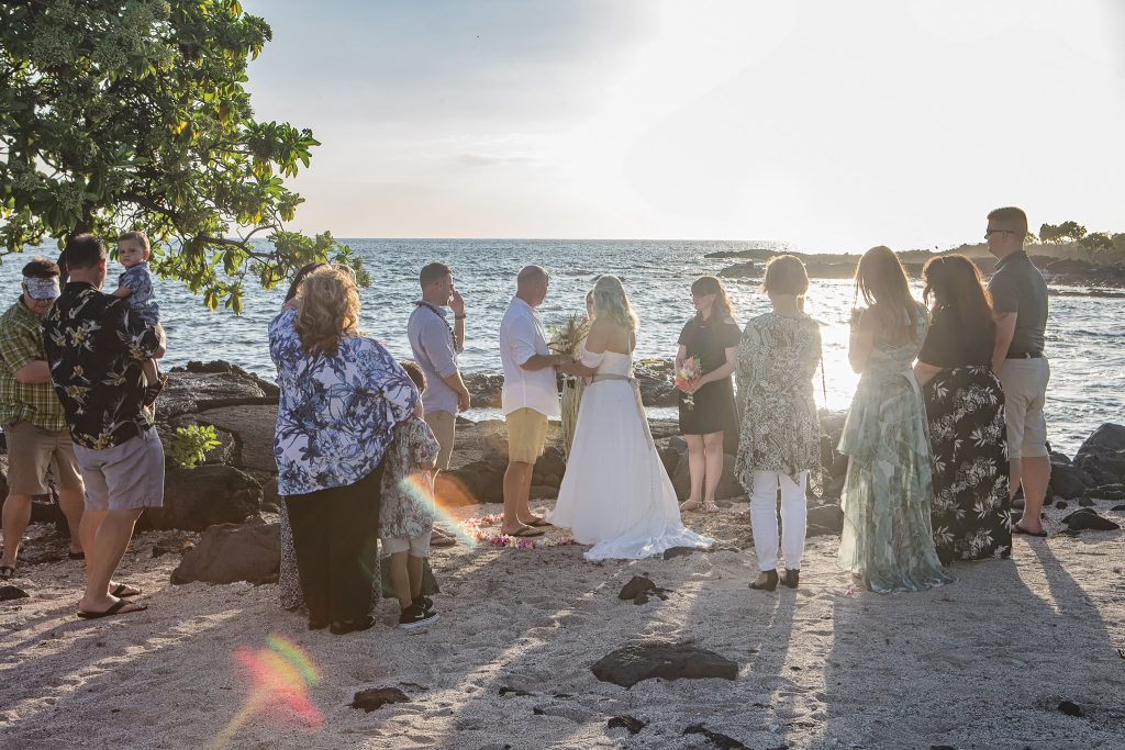 Ceremony with extended family Intimate wedding Photography old airport park Kailua-kona big island Hawaii
