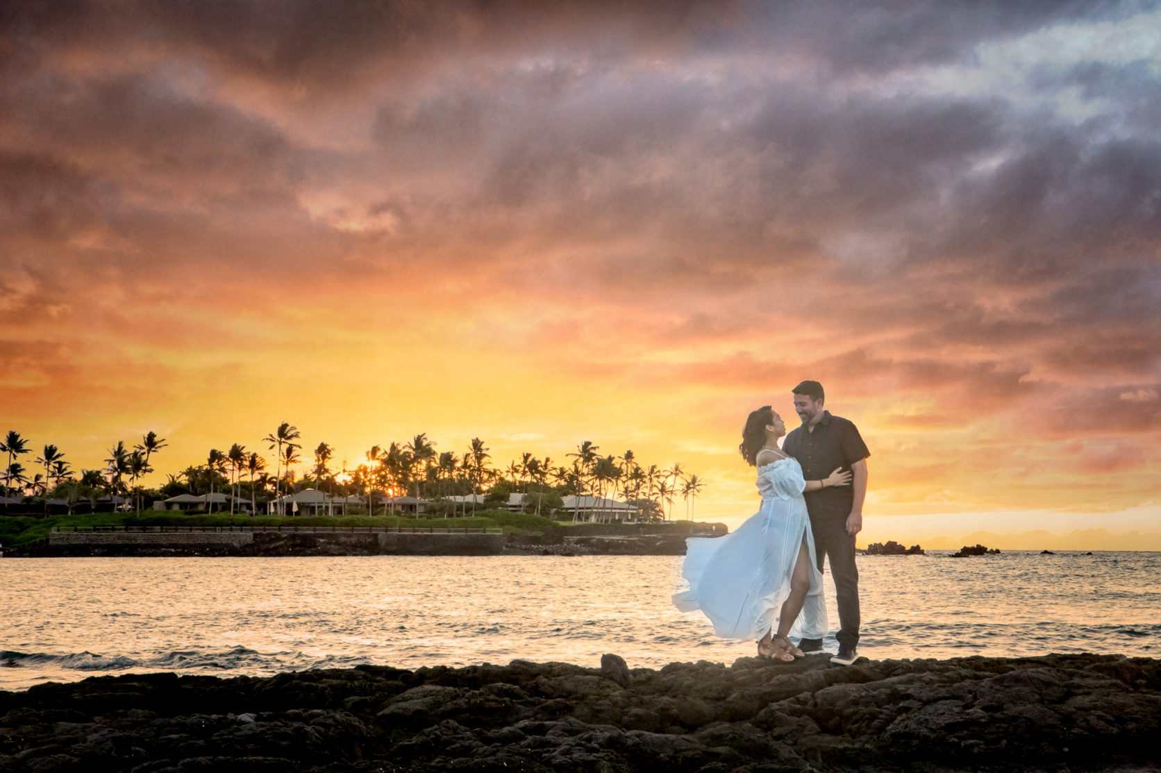 Babymoon Maternity couple mauna lani resort sunset night - Big Island Destination Photographer