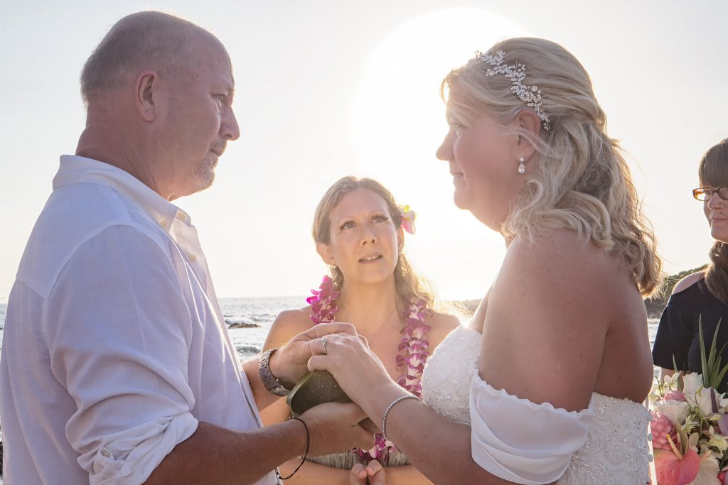 Bride and groom looking emotionally at each other Intimate wedding Photography old airport park Kailua-kona big island Hawaii